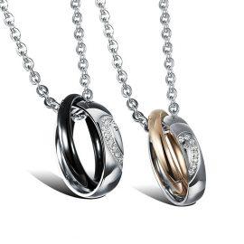 Lantisoare cuplu pandantiv inele stainless steel