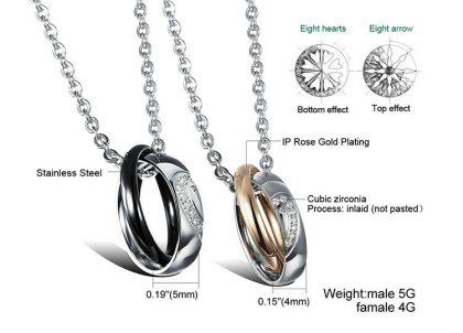 Lantisoare cuplu pandantiv inele stainless steel detalii
