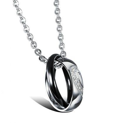Lantisoare cuplu pandantiv inele stainless steel el