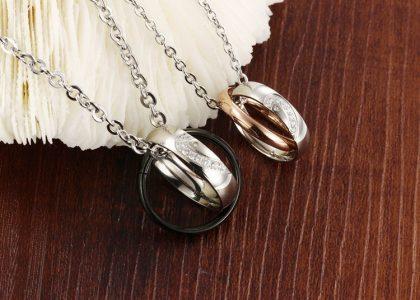 Lantisoare cuplu pandantiv inele stainless steel sus