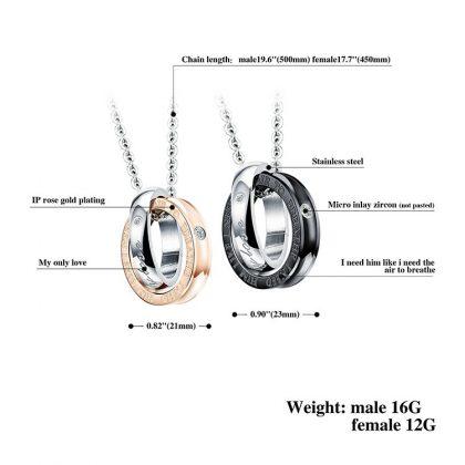 Lantisoare cuplu pandantiv sfere stainless steel detalii