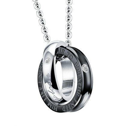 Lantisoare cuplu pandantiv sfere stainless steel el