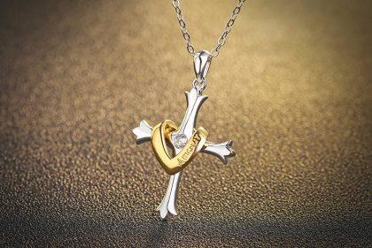 Lantisor argint 925 cruciulita placata aur fata