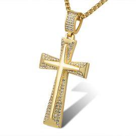 Lant barbati placat aur pandantiv cruce