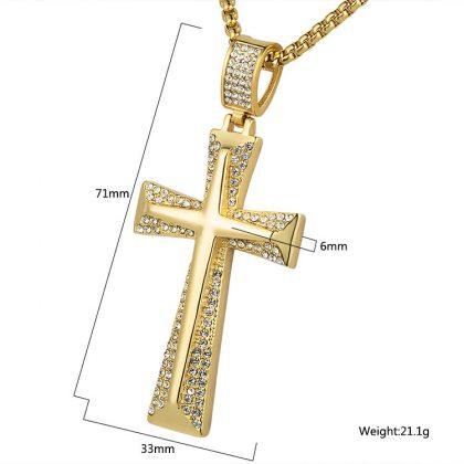 Lant barbati placat aur pandantiv cruce detalii