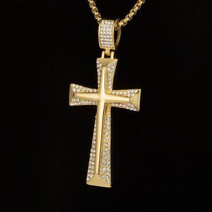 Lant barbati placat aur pandantiv cruce fata