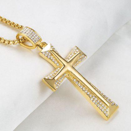 Lant barbati placat aur pandantiv cruce profil