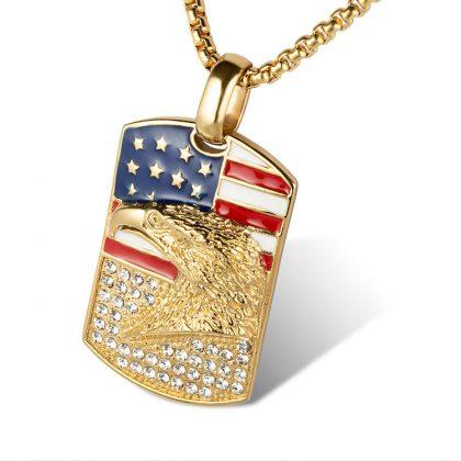 Lant barbati placat aur pandantiv USA