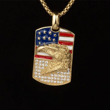 Lant barbati placat aur pandantiv USA fata