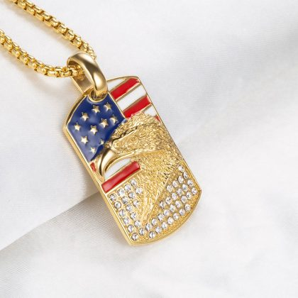 Lant barbati placat aur pandantiv USA profil