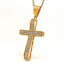 Lant placat aur pandantiv cruce zirconiu