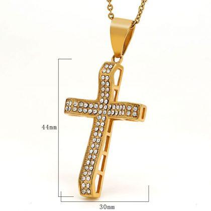 Lant placat aur pandantiv cruce zirconiu detalii