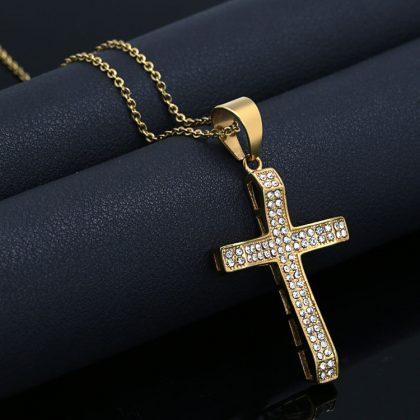 Lant placat aur pandantiv cruce zirconiu fata