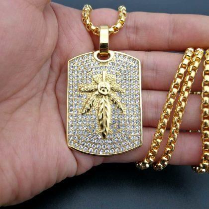 Lant placat aur pandantiv frunza fata