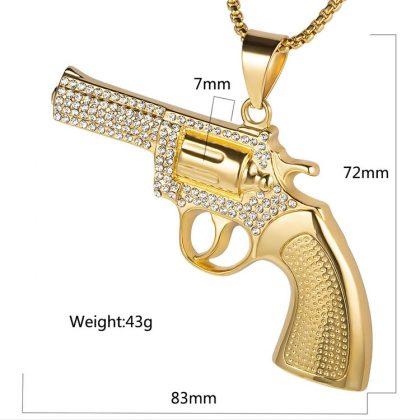 Lant placat aur pandantiv pistol detalii