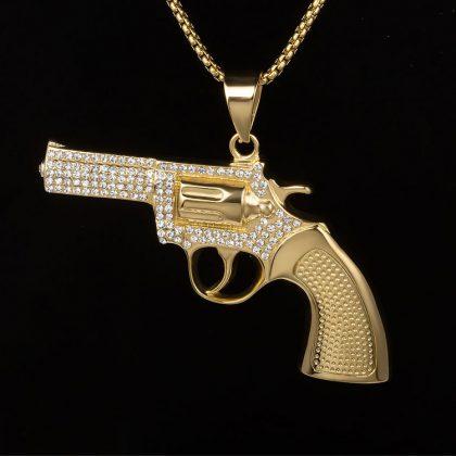 Lant placat aur pandantiv pistol fata