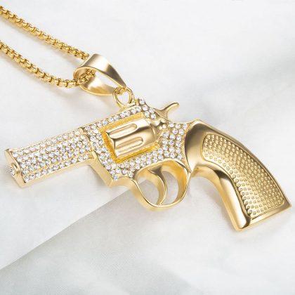 Lant placat aur pandantiv pistol profil