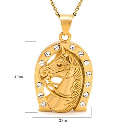Lant placat aur pandantiv potcoava detalii