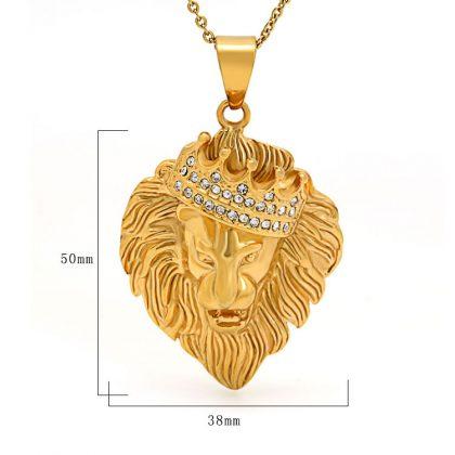 Lant placat aur pandantiv regele animalelor detalii