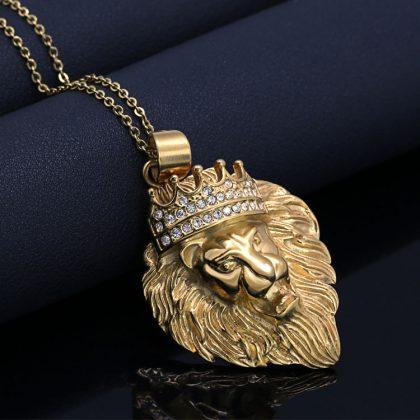 Lant placat aur pandantiv regele animalelor fata