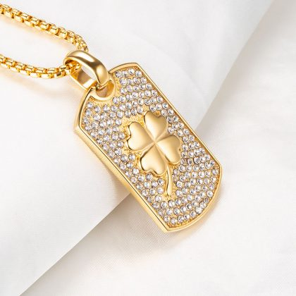 Lant placat aur pandantiv trifoi profil