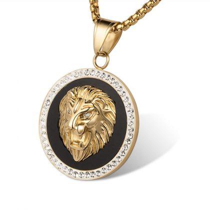Lant unisex placat aur pandantiv leu