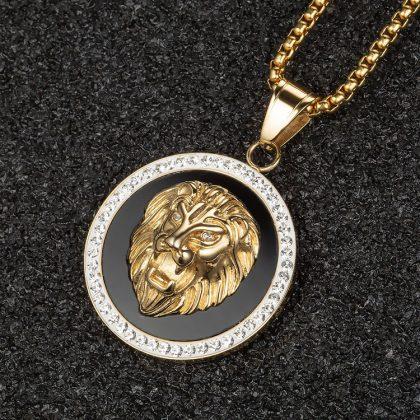 Lant unisex placat aur pandantiv leu sus