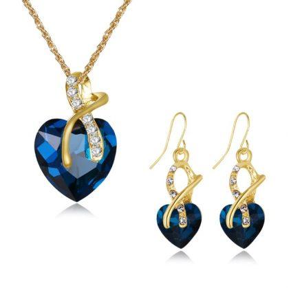 Set elegant cristale albastre placat aur