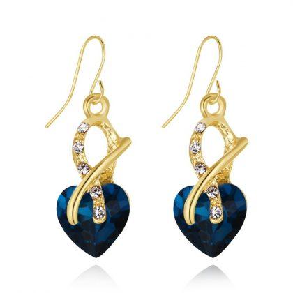 Set elegant cristale albastre placat aur cercei