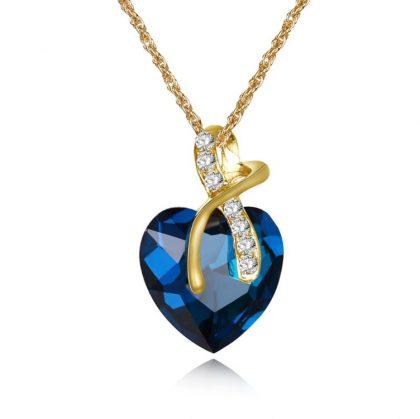 Set elegant cristale albastre placat aur colier