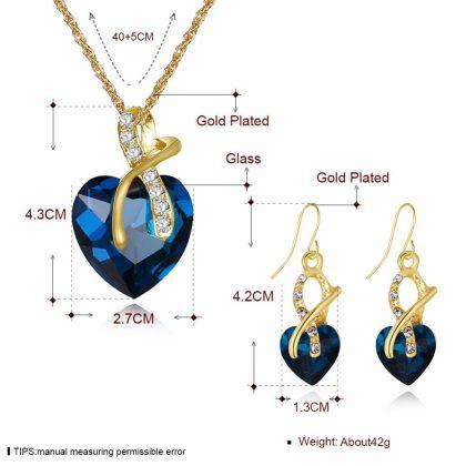 Set elegant cristale albastre placat aur detalii