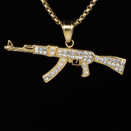 Lant placat aur pandantiv AK47 fata