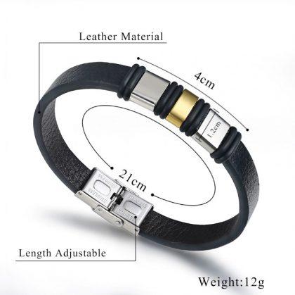 Bratara piele neagra insertii metalice detalii