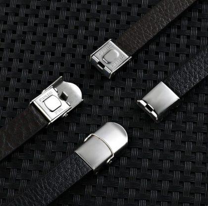 Bratara piele neagra insertii metalice sus