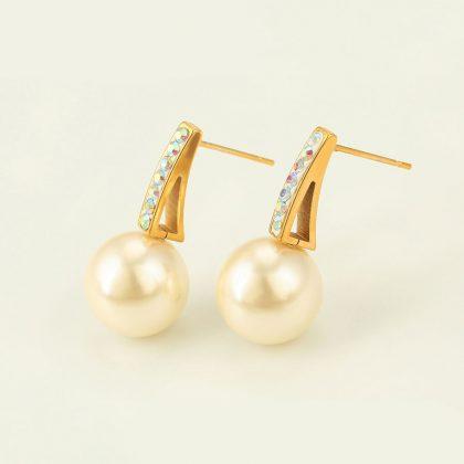 Cercei eleganti perla placati aur 24k profil