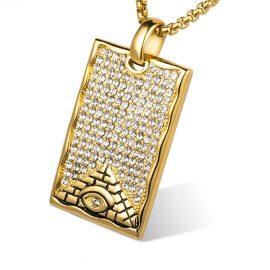 Lant placat aur pandantiv piramida