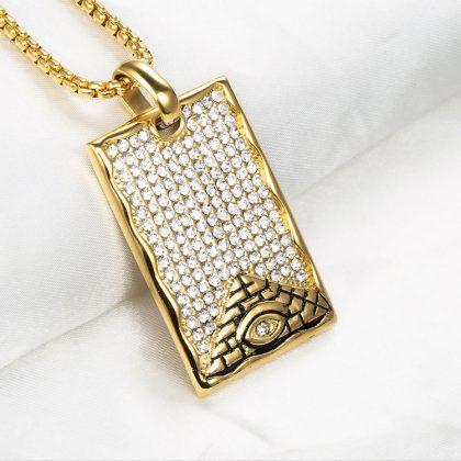 Lant placat aur pandantiv piramida profil