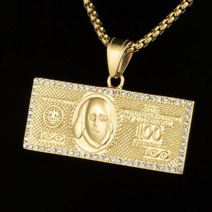 Lant placat aur 100 dolari fata