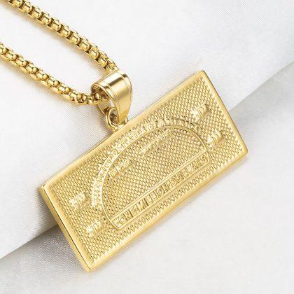 Lant placat aur 100 dolari spate