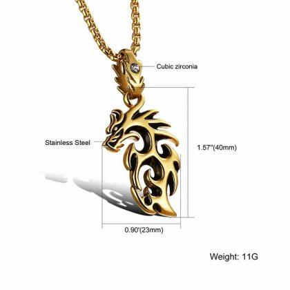 Lant placat aur pandantiv dragon detalii