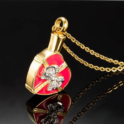 Lant placat aur pandantiv inimioara profil