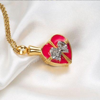 Lant placat aur pandantiv inimioara sus