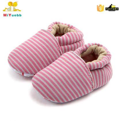 Pantofi bumbac rosu-gri 0-6 luni