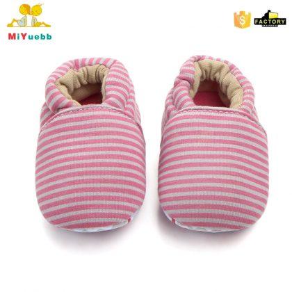 Pantofi bumbac rosu-gri 0-6 luni fata