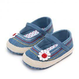Pantofi fetite floricica albastrii 0-6 luni