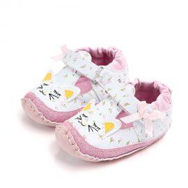 Pantofi fetite pisicute roz 0-6 luni