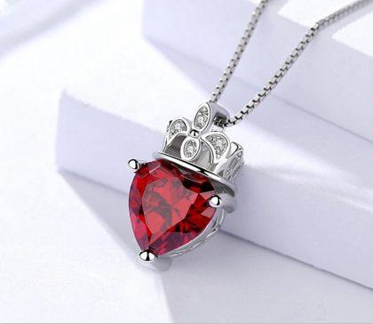 Lantisor argint 925 zirconiu rosu