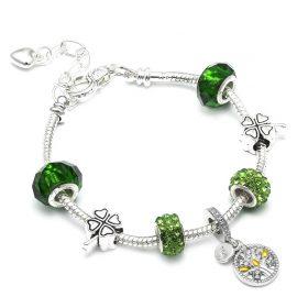 Bratara charm cristale verzi copacul vietii
