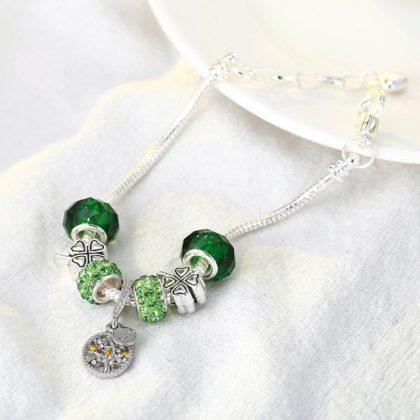 Bratara charm cristale verzi copacul vietii fata