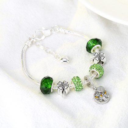 Bratara charm cristale verzi copacul vietii sus